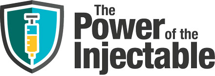 Power_of_the_Injectable_logo_with_syringe_and_shield